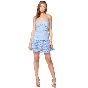 Bardot Agnes Tiered Lace Mini Dress Blue Sz 8